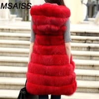 MSAISSS S-3XL Winter Thick Warm Faux fox fur Vest Trim Hood Fur Coat  Women Fur Vest Jacket long Parka