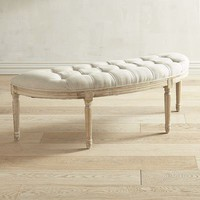 Eliane Natural Whitewash Tufted Bench