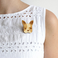 Laser Cut Wooden French Bulldog Brooch/ Boston Terrier Brooch