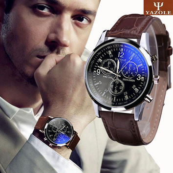 Mens Blue Ray Glass Quartz Analog Faux Leather Wristwatch