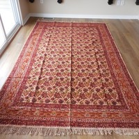Red boho indian handmade rug