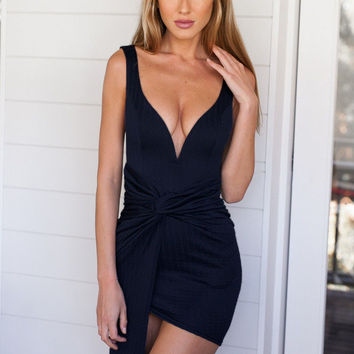 Navy V-neck Ruched Sleeveless Mini Bodycon Dress