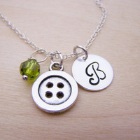 Button Necklace - Button Charm - Swarovski Birthstone Initial Personalized Sterling Silver Necklace - Gift for Her