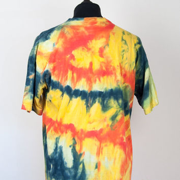 Multicolour Orange Striped Tie Dye T Shirt The One and Only Clothes Co Summer Festival Funky Groovy 60s Hippy Cool Hipster Top 90s Fashion