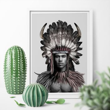 Strong Native American Indian Feather Man Art Canvas Poster Print Wall Art Canvas Painting For Living Room Home Decor