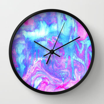 Melting Marble in Pink & Turquoise Wall Clock by Tangerine-Tane