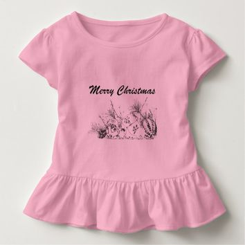 Toddler Ruffle Tee - Merry Christmas Bauble Sketch