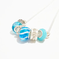 Charm Necklace / Turquoise Charm Necklace / Turquoise and Silver Charm Necklace / Lamp Work Bead Necklace / Charm Jewellery / Charm Jewelry