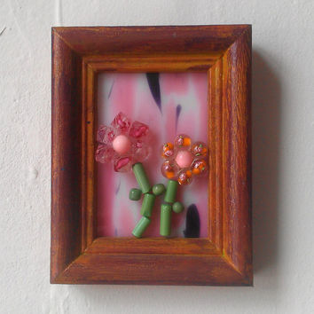Miniature Flower Garden Mosaic on Stained Glass, Pink Nursery or Girls Room Wall , Small Gift Ideas, Bead Art