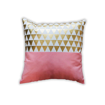 Peach Gold Triangles Pillow