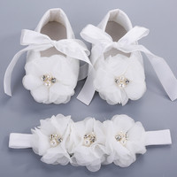 Ivory newborn Booties baby girls shoes toddler;infant rhinestones first walker baby shoes ballerina;girls baptism set #2B1932
