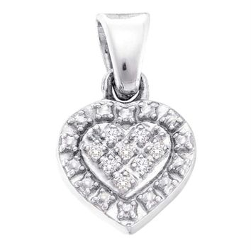 Sterling Silver Women's Round Diamond Small Heart Pendant .03 Cttw - FREE Shipping (US/CAN)