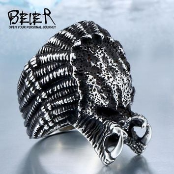 BEIER 2017 Alien Predator Finger For Men Gothic Style Movie Ring Stainless Steel Jewelry  BR8-451
