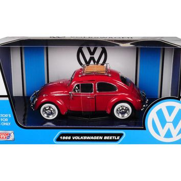 1966 Volkswagen Classic Beetle Red 1/24 Diecast Car Model by Motormax