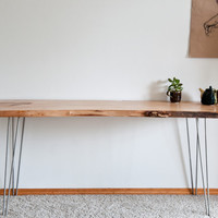 Dutch Elm Live Edge Slab Desk with Hairpin by TheCollectiveMan
