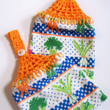 Garden Vegetable Dish Towels Hanging Dish Towels Crochet Button Top Towels Hand Towels Kitchen Towels Garden Theme Kitchen