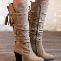 Tied & Trendy Boots Tan
