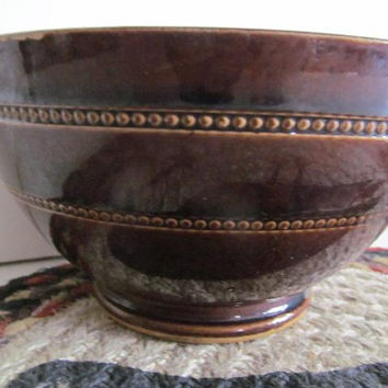 Beaded Brown Pottery Bowl vintage Stoneware Bowl Farmhouse Decor Primitive Kitchen Decor Brown Pottery Batter Bowl Country Farmhouse Kitchen