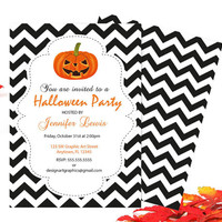 Halloween Party Invitation with Pumpkins and Black Chevron Templates - Halloween Party Invitation Template - Editable PDF - Instant Download