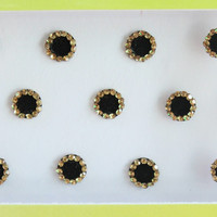 7mm Black Face Stickers,Round Bindis,Velvet Black Bindis,Wedding Round Black Face Jewels Bindis,Bollywood Bindis,Self Adhesive Stickers Pack