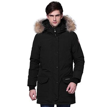 Thicken Warm Real Fur Collar Winter Coat For Men Slim Couples Long Down Coat