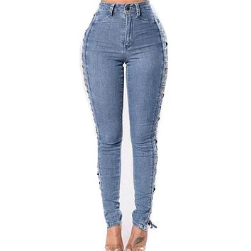2017  Women Sexy Jeans Slim Ladies Women Trousers Destroyed Ripped Distressed Denim Pants Boyfriend Summer Pencil Jeans Summer