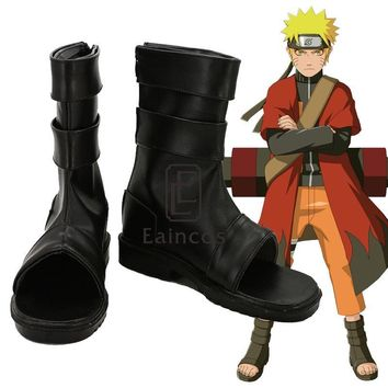 Anime Naruto Uzumaki Naruto Cosplay Shoes Black Peep Toe Boots Custom Made