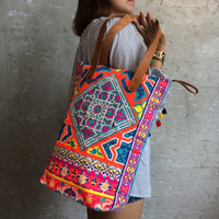 Orange Tile style Beach bag / Gift for her / Hippie Bag / Neon Bag / Shopping bag / Beach totes / Boho tote Summer / Bachelor Party