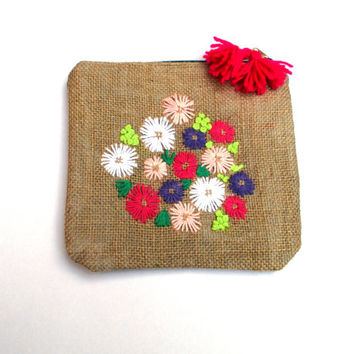 Colorful pastel flowers hand embroidered on burlap pouch bag, accessories pouch,  travel accessories, bag organizer