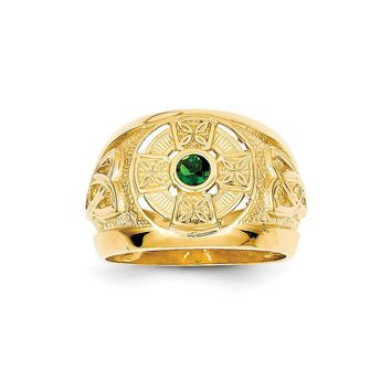 14k Yellow Gold Mens Celtic Cross with Green Synthetic Stone Center Ring