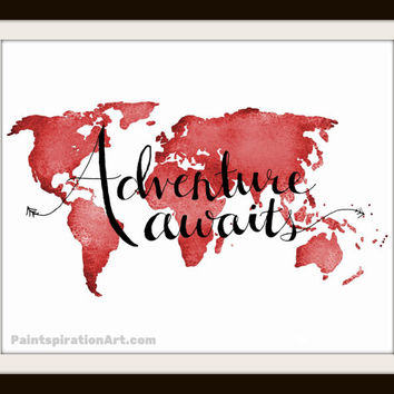 Travel Decor Adventure Awaits Red Art Print - Inspirational Quote Prints Wall Sayings - World Map Wall Decor Gift for Traveler Gift for Dad