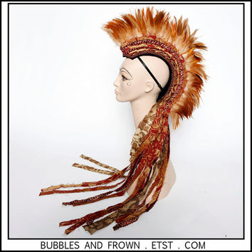 Rising Sun.... Feather Mohawk with Fabric Train