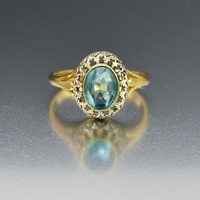 Glamorous 10K Gold Blue Topaz Cocktail Ring 1940s