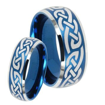 His Hers Celtic Knot Infinity Love Dome Brushed Blue 2 Tone Tungsten Men's Ring Set