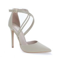 Urth Nude Nubuck by Shoe Republic, D'Orsay Strappy Stiletto High Heel Dress Sandals