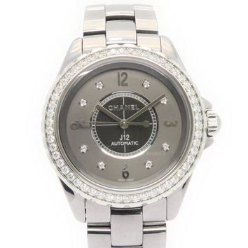 CHANEL J12 Watch Stainless Steel Diamond Grey Automatic H2566 6816