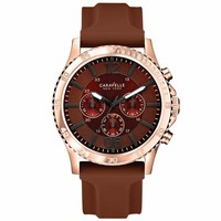 Caravelle 44A102 Mens New York Brown Dial Rose Gold Steel Rubber Strap Watch