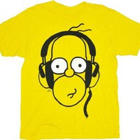 The Simpsons Homer With Headphones Yellow Adult T-shirt Tee