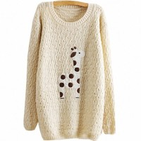 Partiss Women Giraffe Print Knitwear Sweater Small Beige