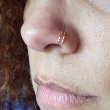 Tiny 14K Rose Gold Double Nose Ring Lip Ring Fake Piercing