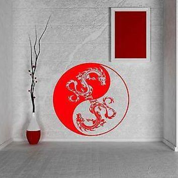 Wall Vinyl Sticker Yin Yang Dragons Circle Meditation Yoga Studio Decor Unique Gift (z2902)