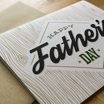 Happy Father's Day - Father's Day Greeting Card, Father, Dad, Wood