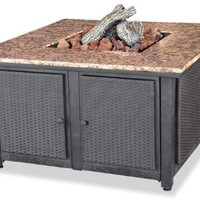 Uniflame GAD1200B LP Gas Outdoor Firebowl with Granite Mantel with removable side panels