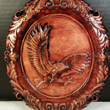 American Eagle Wood Carving Wall Hanging Soaring Eagle Cameo Wood Art Plaque Wall Decor Ready to Hang Man Cave Decor Handmade in USA - Texas