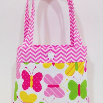 Toddler tote little girl purse butterfly tote butterflies pink purse little girl birthday gift toddler gift tot tote water resistant lining