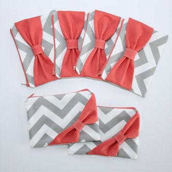 Bridesmaid Gift Set / Bachelorette Favors - Gray Chevron Coral Side or Center Bow - Wedding Cosmetic Cases - Choice of Quantity and Style