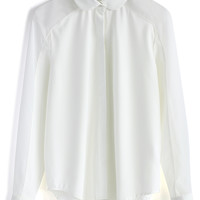 Simple White Shirt with Sheer Panel White S/M