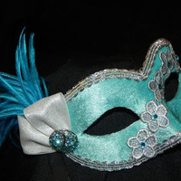 Lace and Feather Masquerade Mask in Shades of Aqua, Turquoise and Silver