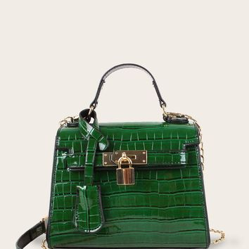 Croc Embossed Metal Lock Decor Satchel Bag