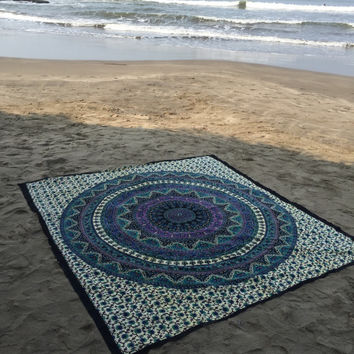 AMAZING MANDALA ELEPHANT TAPESTRY, BEACH BLANKET WALL HANGING , THROW BEDSPREAD